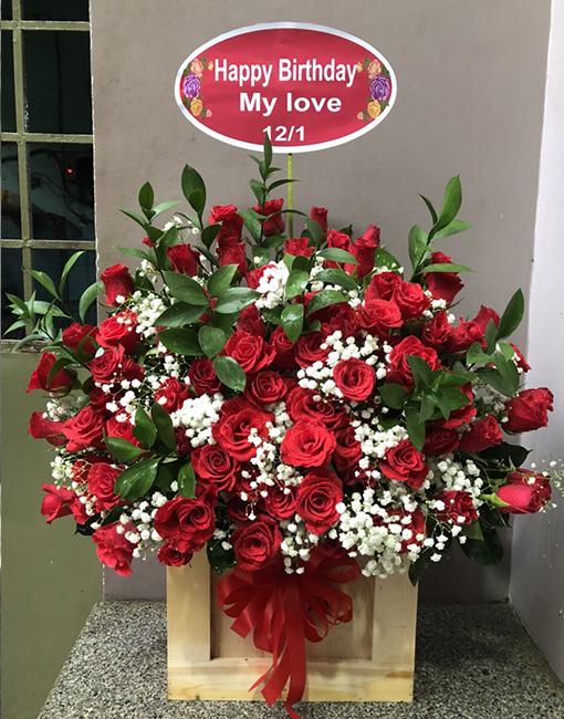 giỏ hoa hồng đỏ điện hoa long biên, điện hoa chúc mừng sinh nhật
